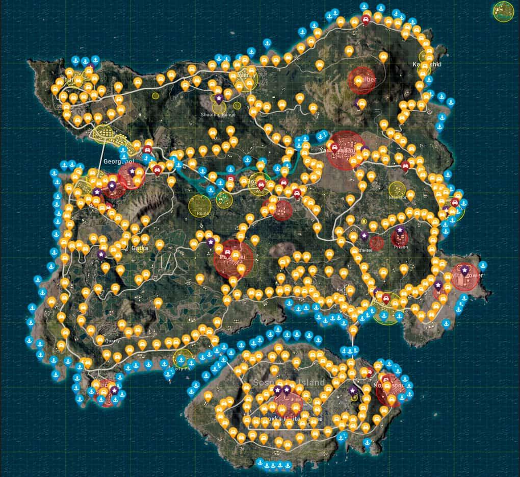Карта Эрангеля с топ лутом