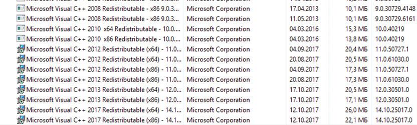 Количество Visual C++ на комьютере